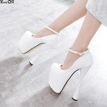 b40ee4ba Ultra Sexy tacones altos mujeres bombas tacones finos zapatos solo PU cuero  mujeres zapatos 20 cm talón tamaño más size34-47