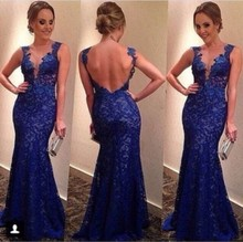 2014 Elegant Evening Dress O Neck Lace Backless Mermaid Royal Blue Prom Dresses