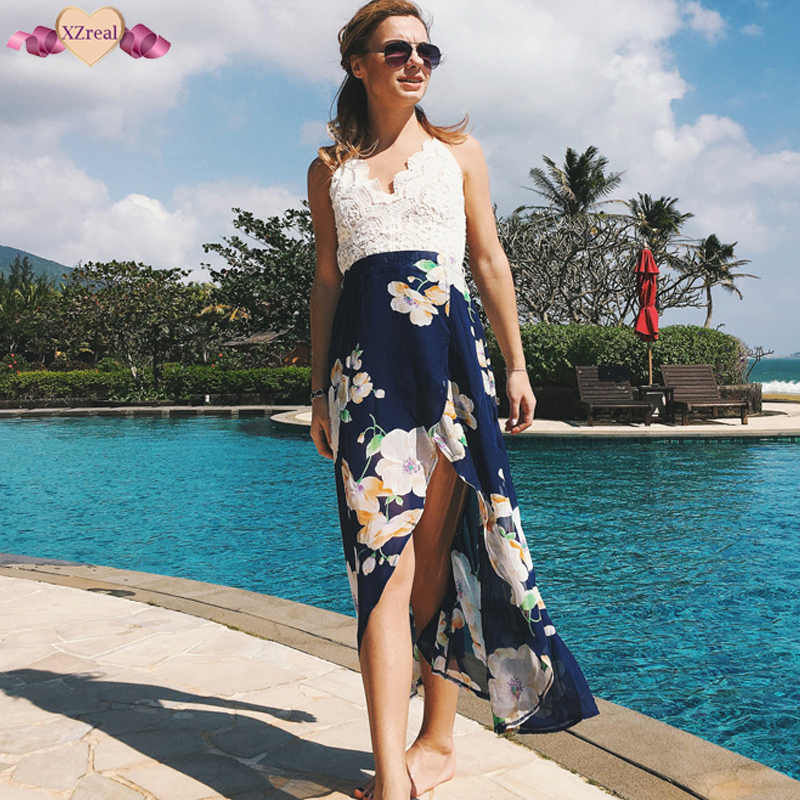 Sexy Print Backless Beach Dress Summer Women Floral Ruffles Off Shoulder Dresses Short Irregular Chiffon Party Dress Z3D267