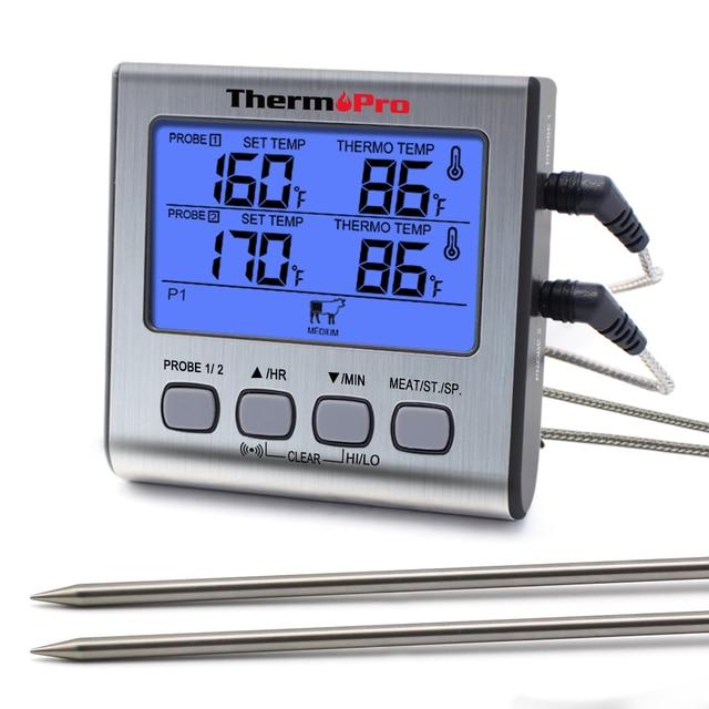 ThermoPro TP17 çift probları dijital açık et termometresi pişirme barbekü fırın termometresi büyük LCD ekran ile mutfak için