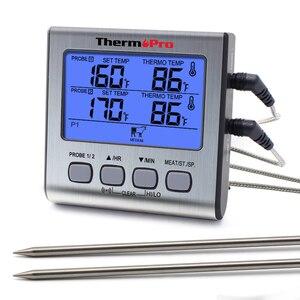 Image 1 - ThermoPro TP17 двойные зонды цифровой наружный термометр для мяса Кухонный Термометр для печи барбекю с большим ЖК экраном для кухни