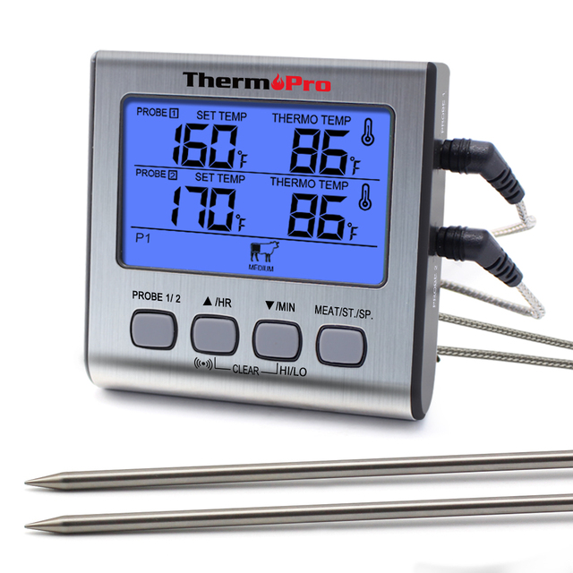 ThermoPro TP17 двойные зонды цифровой наружный термометр для мяса Кухонный Термометр для печи барбекю с большим ЖК экраном для кухни
