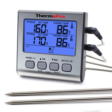 ThermoPro termómetro Digital TP17 con sondas dobles para exteriores, termómetro para horno BBQ con pantalla LCD grande para Cocina