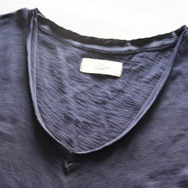 Zecmos Deep V Scoop Neck T-Shirt Män Grundläggande T-shirt T-shirts - Herrkläder - Foto 2