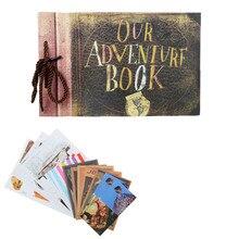 Vintage 40 sztuk 80 stron Kraft arkusze papieru karty nasz mój przygoda książka Album Handmade Pixar DIY zdjęcie foto scrapbooking zdjęcie Album