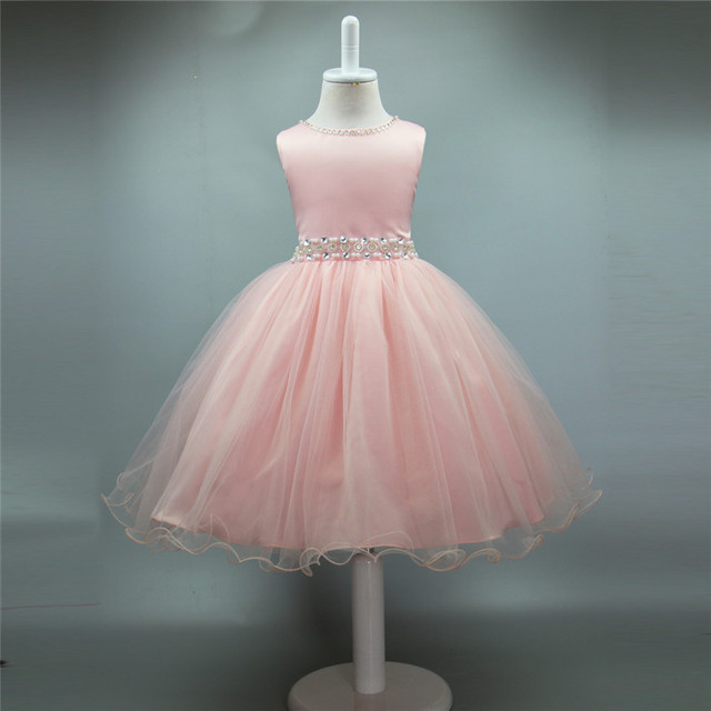 0 8 Y Baby Infant Girl Dress Hand Sewn Beads Sashes Pink Wedding ...