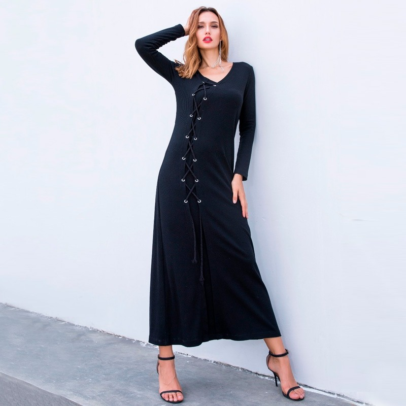 Winter Dress Plus Size Women Knitted Long Maxi Dresses 2018 Autumn Casual Lace Up V Neck Long Sleeve Loose Female Party Vestidos