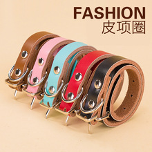 Dog Collar Leather Ornament Medium-Sized Neck Strap Personalized Small Collars Teddy Dogs Traction Rope