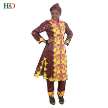 H&D 2018 African women dress traditional bazin riche woman suits outfit high quality embroidery lady tops with pants scarf 3 pcs