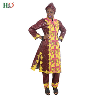 H D 2018 African Women Dress Traditional Bazin Riche Woman Suits Outfit High Quality Embroidery Lady