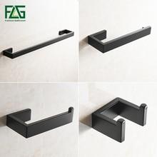 FLG 304 Stainless Steel Bathroom Accessories Set Single Towel Bar,Robe hook,Paper Holder ,4pcs/set Black Bath Hardware Sets G124