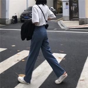 Image 5 - Pants Women Retro High Waost Solid Color Leisure Pant Spring Womens Korean Capris Elegant All match Trouser Ladies Button Pocket