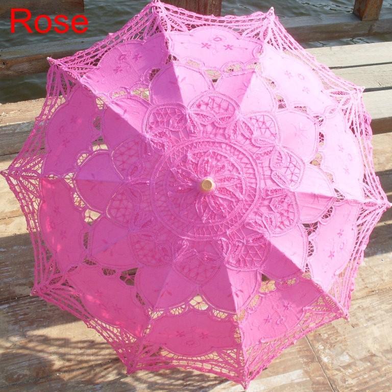 New Lace Umbrella Cotton Embroidery White/Ivory Battenburg Lace Parasol Umbrella Wedding Umbrella Decorations Free Shipping 32
