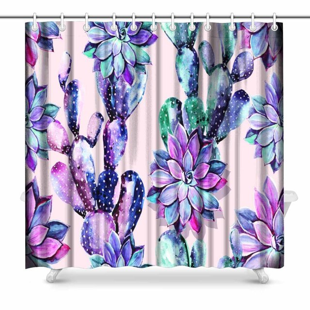 Aplysia Watercolor Cactus Floral Pattern Background Bathroom Decor Shower Curtain Set With Hooks 72 Inches