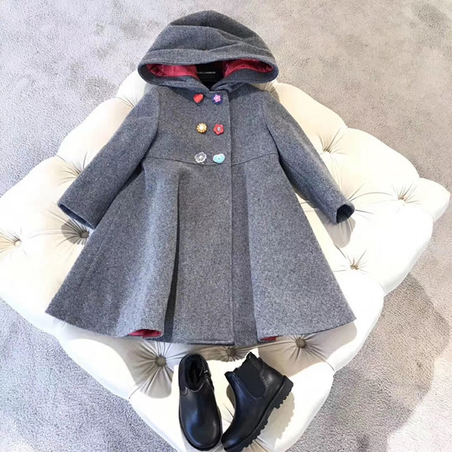 14fdd7861 US $65.0 |Winter Jacket Coat for Girls Kids Clothing Classic Grey Coat  Outfits Clothes Woolen Overcoat Flower Button for Children Outwear -in  Jackets ...