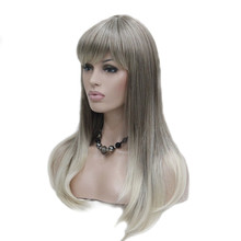 StrongBeauty Womens Long Straight Hair Neat Bang Hairstyle Blonde Ombre Wig Synthetic Full Wigs