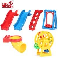 اللبنات الانكليزي لعب ملعب funlock مجموعة 6 قطع الإبداعي تجميع أجزاء الطوب التعليمية هدية لطفل جدي