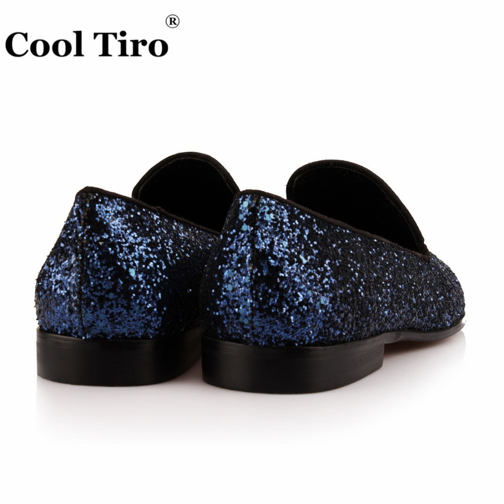 9426d51e071 Navy blue Glitter Loafers Men Smoking Slippers Prom Wedding Dress Shoes  Men s Moccasins L eather Casual Shoes Flats Sequins-in Formal Shoes from  Shoes on ...