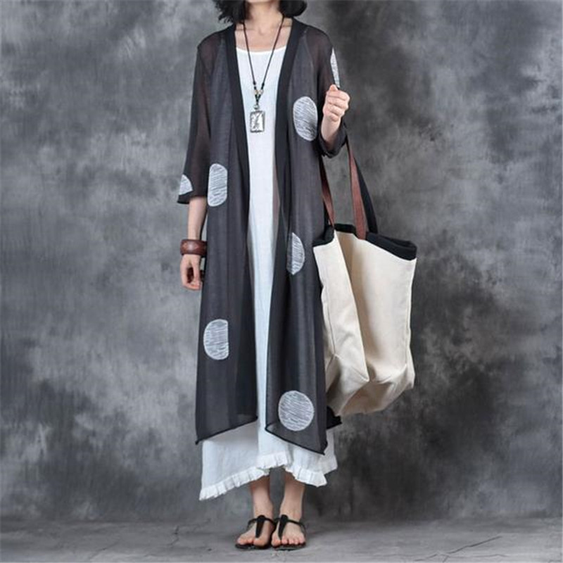 BUYKUD Casual Women Cardigan Open Front Three Quarter Sleeve Beige Long Cardigan Fashion Viscose Tops