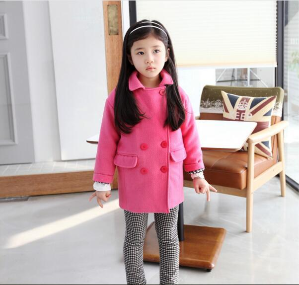 Girls Wool Coats Children Thicken Warmer Cotton Overcoat Kids Rose Red Winter Wool Outerwear Jackets Baby Girl Clothing