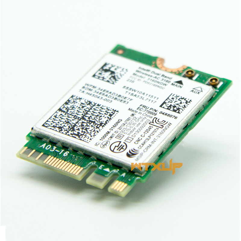 US $7 6 |2 4G/5G Wireless AC For Intel 3160NGW wifi Bluetooth NGFF FRU  04X6076 for Lenovo e550 e450 e455 E555 Y40 Y50 BT 4 0 WiFi Card-in Network