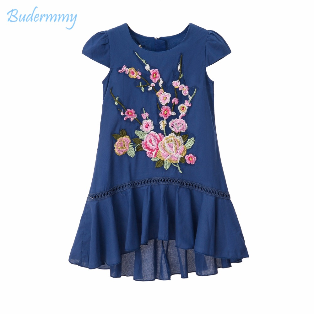 Flower Girls Dress Cotton Double layer Royal Blue Dress Summer Princess Dress for Girl 3 4 5 6 8 10 Years Kids Clothing Dresses