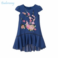 Budermmy Girls Dress Embroidery Flower Leaves Royal Blue Straight Dress 2017 Summer Daily Life Dress For