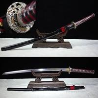 Klasy-A Handmade Damaszek Miecz Samurajski Stali Kutej Z Glina Hartowane Prawdziwe Hamon Gotowy Do Battle Mosiądzu