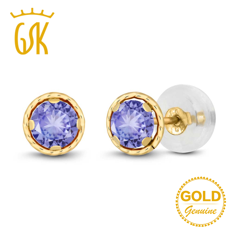 Aliexpress Gemstoneking 0 60 Ct Round 4mm Blue Natural Tanzanite Earrings For Women Solid 14k Yellow Gold Stud Fine Jewelry From Reliable