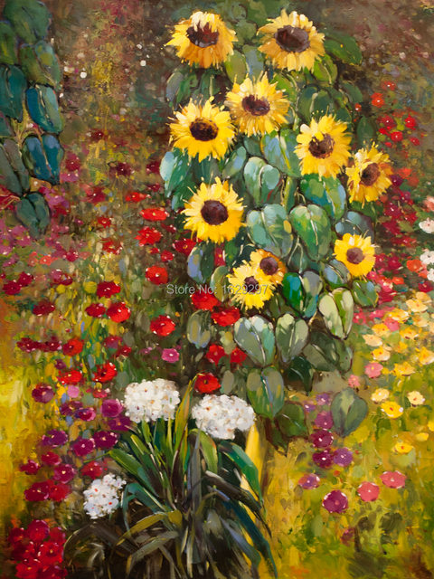 Charmant High Quality Gustav Klimt Paintings Farm Garden With Sunflowers Yellow Oil  On Canvas Hand Painted Flower