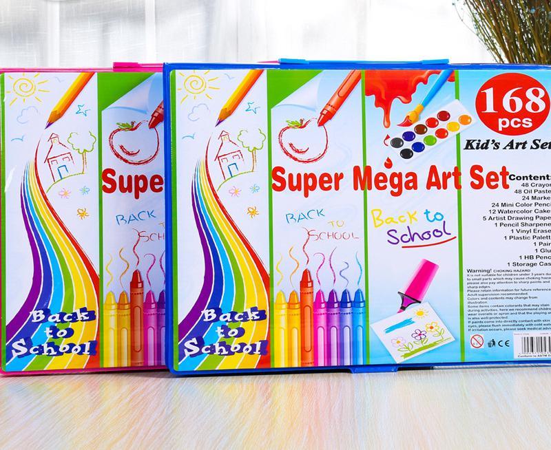 168pcs/set Children pencil Drawing Stationery Set Painting Art Marker pen Set Color Pen Paint Brush Drawing Tool Art School cute lovely color pencil drawing tutorial art book