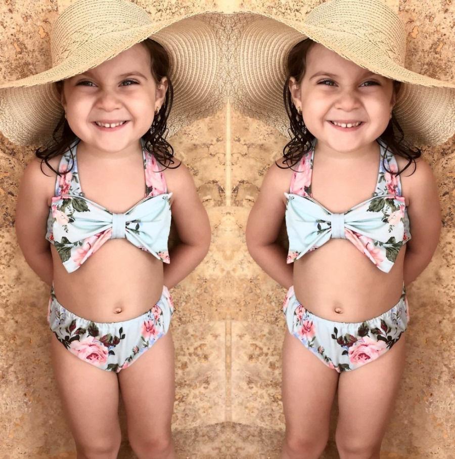 Для маленьких девочек летняя одежда 2017 дети Обувь для девочек детские цветочные синий комплект бикини Купальники для малышек купальник ком...