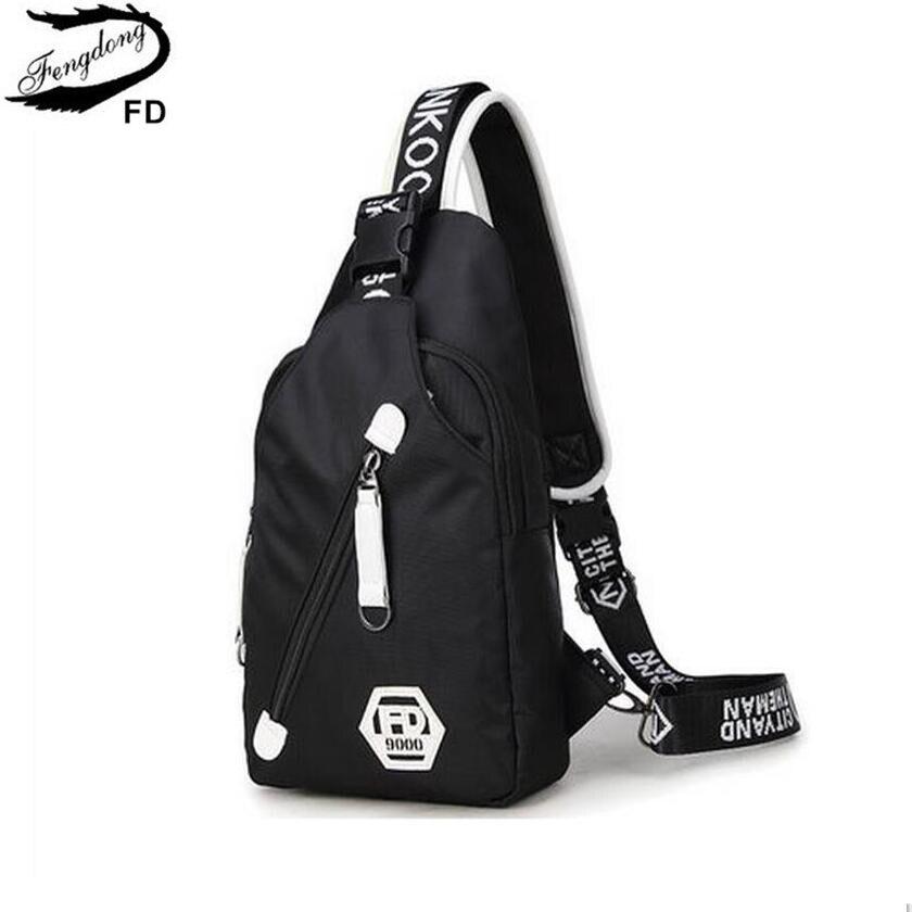 FengDong small crossbody bags for women messenger bags men casual sling chest bag male mini waterproof travel shoulder bag pack