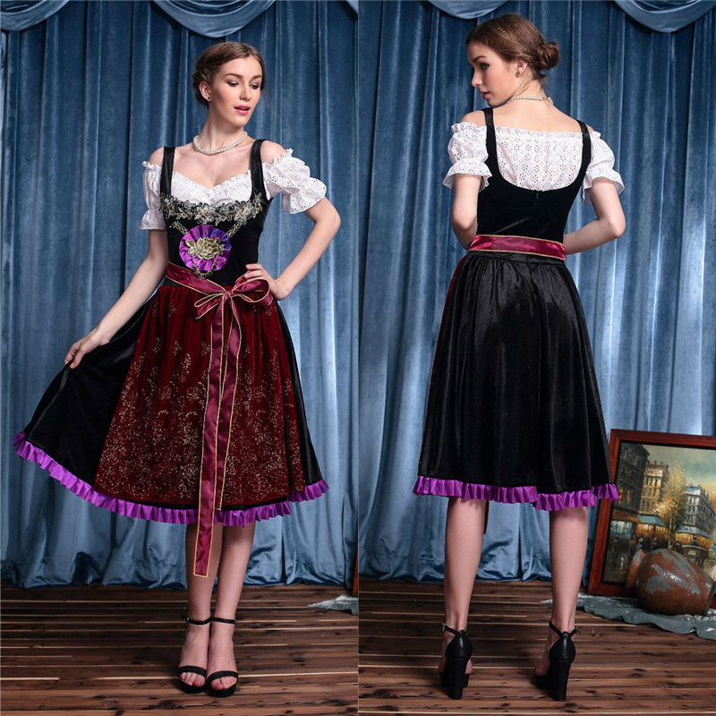 Vocole Women Deluxe German Oktoberfest Bavarian Dirndl Beer Girl Costume Renaissance Wench Costumes