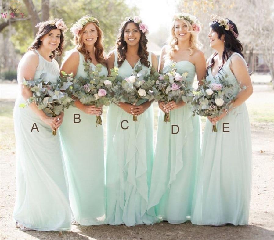 Mint Green   Bridesmaid     Dresses   2019 New A-Line Formal Wedding Party   Dress   Elegant Chiffon Long Sleeveless   Bridesmaid   Prom Gowns