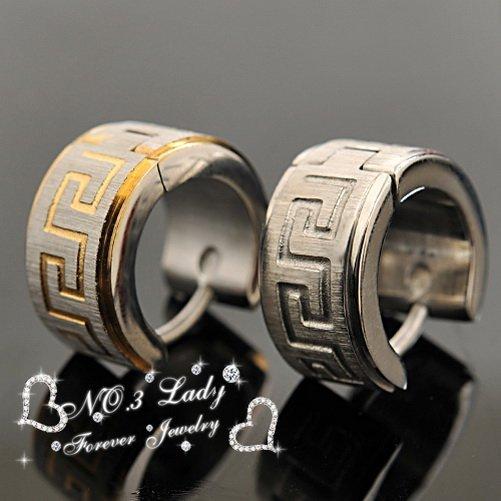 Greek Key Stainless Steel Earrings