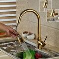 Luxo de Ouro Handheld Pull Out Torneira Da Cozinha Deck Montado Misturador Da Cozinha Torneiras Quente e Fria de Ouro Polonês