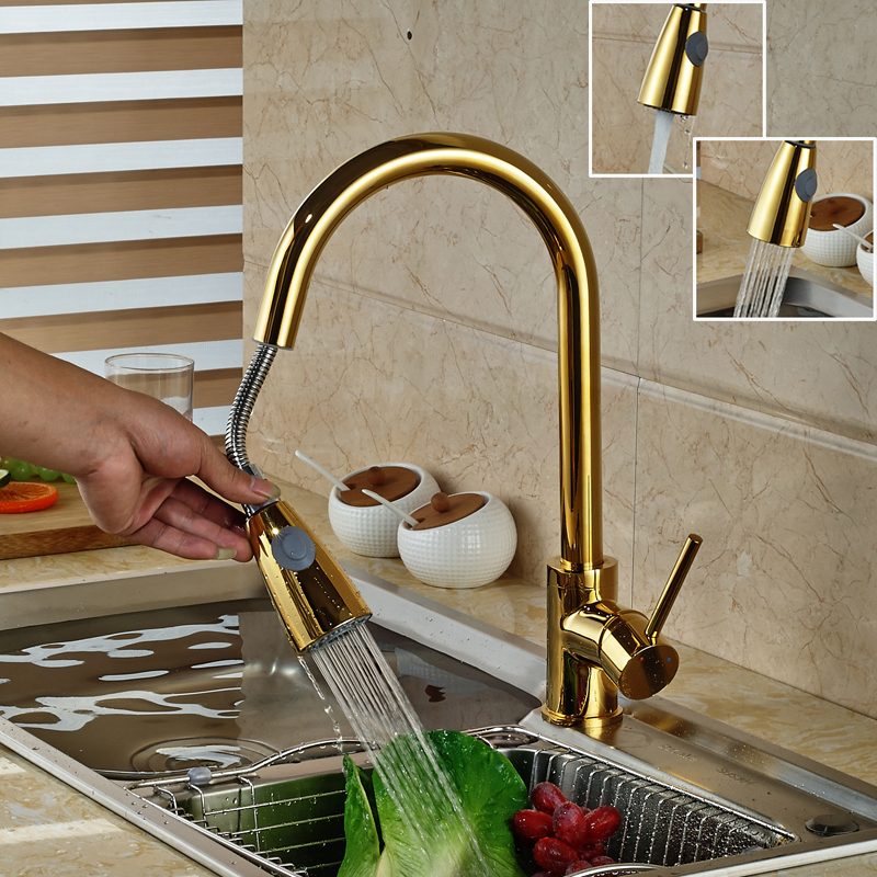 luxury golden handheld pull out kitchen faucet deck mounted 360 swivel kitchen mixer hot and. Black Bedroom Furniture Sets. Home Design Ideas