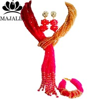 Trendy nigerian wedding african bead Gold Champagne nigerian wedding african beads jewelry set Crystal Free shipping Majalia 477