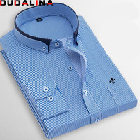Dudalina Factory Sale High Quality 2018 Autumn Plus Size Long Sleeve Striped Men Dress Shirts 5xl