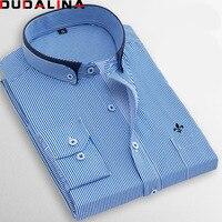 Dudalina Factory Sale High Quality 2018 Autumn Plus Size Long Sleeve Striped Men Dress Shirts 5xl
