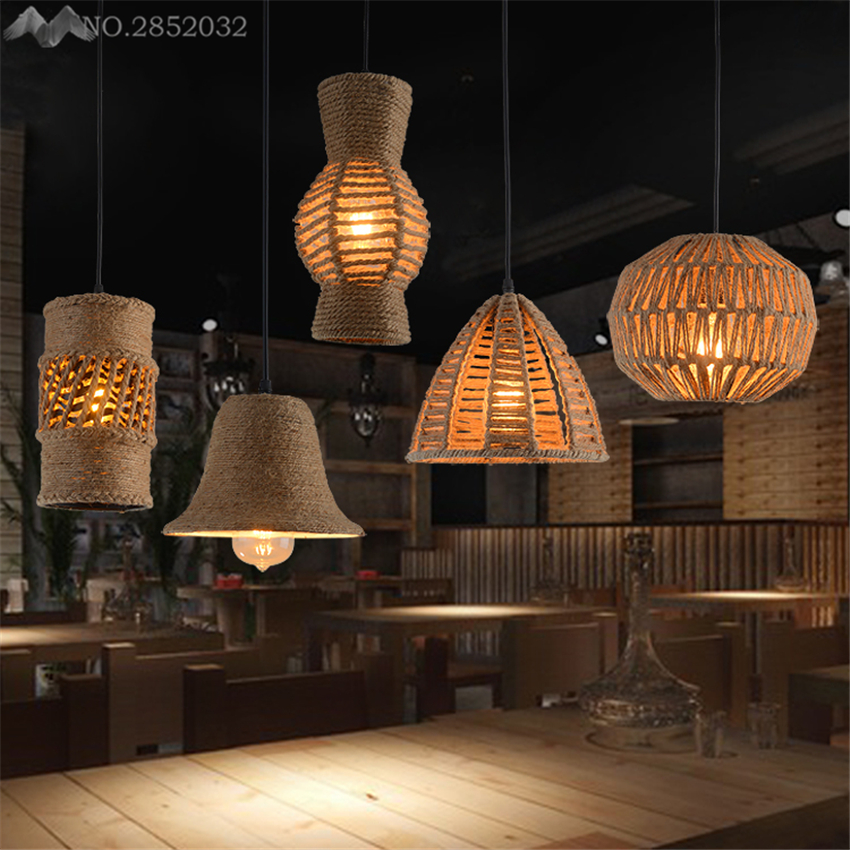 5 kinds hand knitted hemp Rope Pendant Lights Countryside style ,Vintage iron cage hanging lamp restaurant/cafe Light Fixture