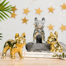 Gold Home Decor Ceramic French Bulldog Figurine Vanity Office Living Room Accessories Creative Animal Ornaments Coin Money Box