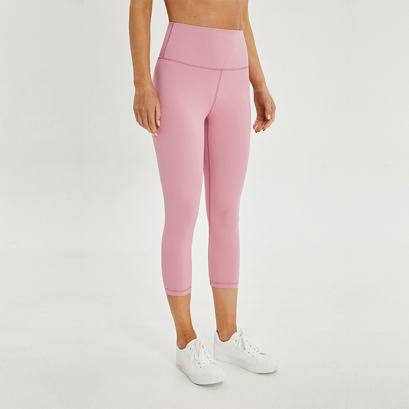 Soft Naked-Feel Athletic Fitness Capri Leggings Women Stretchy High Waist Gym Sport Tights Internal Pocket Cropped Yoga Pants
