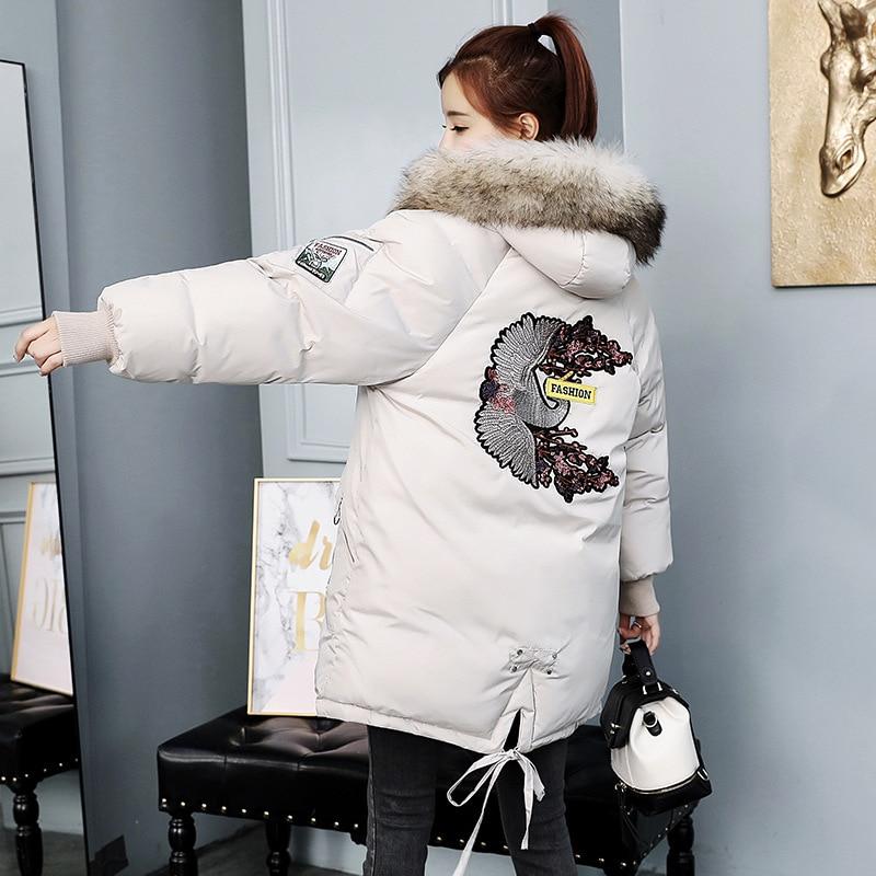 Grande Longue De Nouvelles Green caramel D'hiver Colour Extérieure Épais Manteau Taille Veste Chaud Section white Fourrure Col 2018 Mince army Tq081 gray Femmes Grand Black Brodé nEXpxqE8