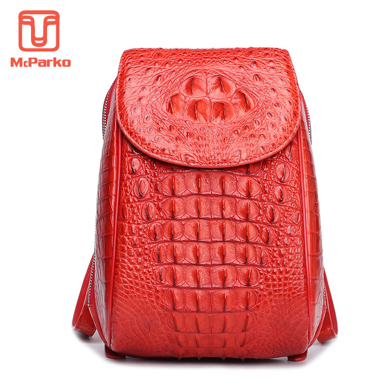 McParko femmes sac à dos dames Anti-vol sac à dos en cuir véritable Crocodile sac à dos luxe Alligator sacs femmes cadeau sac à dos
