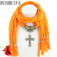 Scarves For Women 6 Colors Fashion Tassels Jewellery Scarf With Cross Pendant