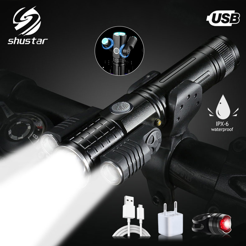 Super Bright USB Charging Bicycle Light 4 Light Modes 3 Lamp LED Flashlight  Waterproof Zoom Bike Light Riding Cycling Lighting