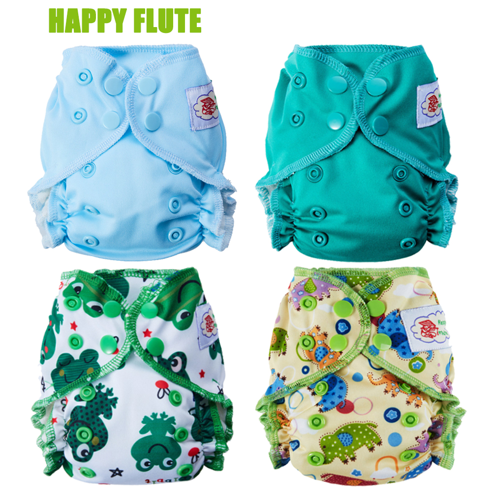 Happy Flute Healthy Organic Cotton Newborn Diapers Tiny AIO Cloth Diaper, Double Gussets Waterproof PUL Fit 2-5KG Baby
