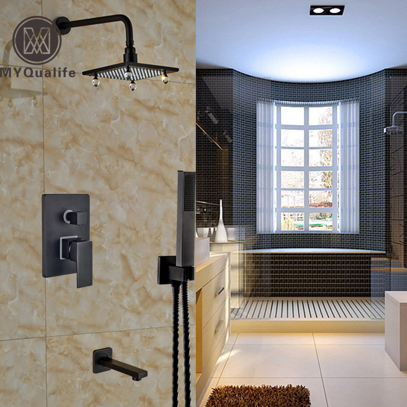 LUXURY 8 Brass & Cristal Rain Showerhead Bathroom Shower Mixer Faucet Bath Shower Faucet with Handshower